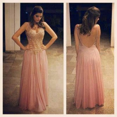 Sexy V-Neck Beading Chiffon Long Prom Dress Custom Made A-Line Evening Gowns 2017