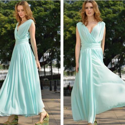 2017 Mint Green Long Prom Dresses Custom Made Chiffon Mint Evening Gowns Formal Women Gowns