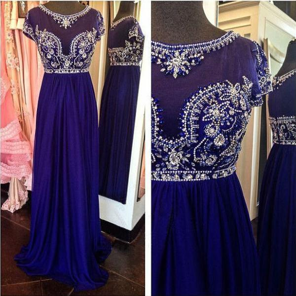 Royal Blue Long Pom Dress,2017 Custom Made Beading Chiffon A-Line Evening Gowns