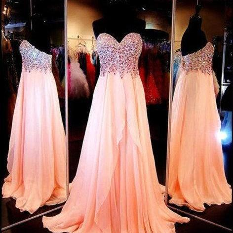 Coral Long Prom Dress,Custom Made Beading Chiffon Formal Evening Gowns 2017,A-Line Graduation Dresses