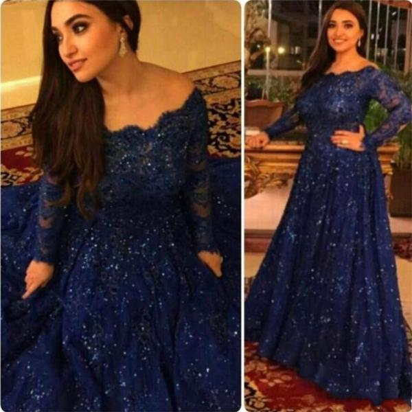 Royal Blue Beading And Appliques Prom Dresses, Lace A-line Evening Dresses,Custom Made Prom Dresses 2017