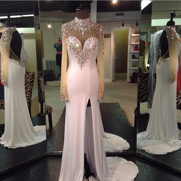 New Arrival White Prom Dress,Beading Mermaid Evening Dresses,Sexy Backless Prom Dress 2017