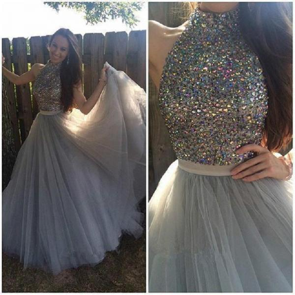 Pretty Beading Long Prom Dresses,Grey Tulle Evening Dresses,Custom Made Prom Dress 2017
