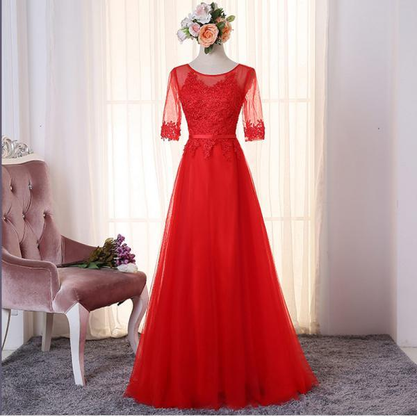 Red Long Sleeve Prom Dresses 2017 Modest Appliqued Tulle Evening Gowns Sheer Imported Party Dress