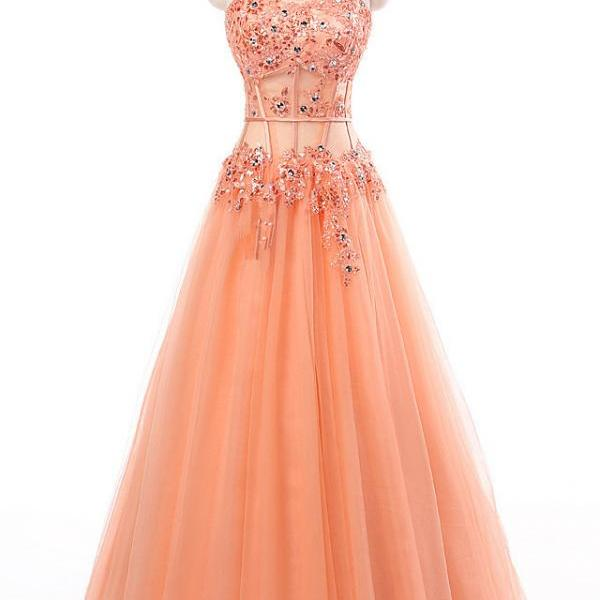 Fitted Coral Prom Dresses Long Modest 2017 Sweetheart Imported Party Dress A-Line Beaded Evening Gowns