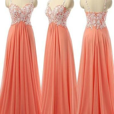 Coral Prom Dresses Long Appliqued Tulle Formal Evening Gowns 2017