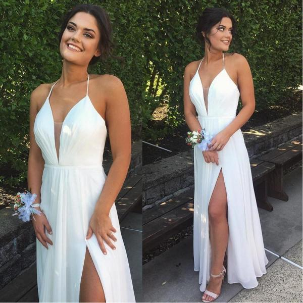 Cheap White A-line Chiffom Prom Dresses,Sexy V-neck Slit Long Prom Dress ,Formal Evening Gowns 2017