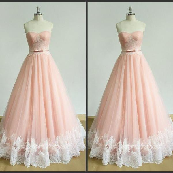 Blush Pink Prom Dresses,Sweetheart Prom Dresses 2017,A-Line Prom Dresses,Tulle Formal Dress