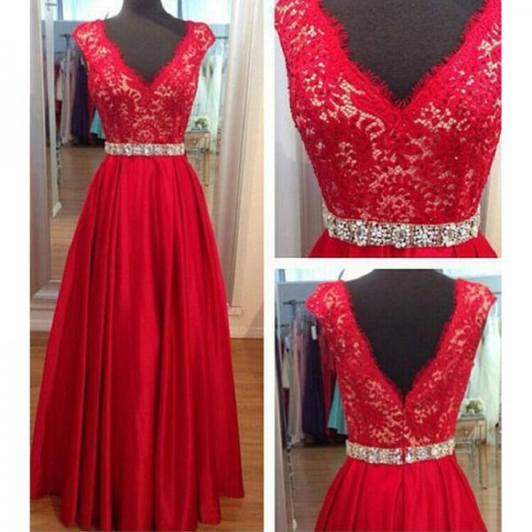 New 2017 Red Satin A-line Prom Dress Lace Beading V- Neck Prom Dress Cutom Made