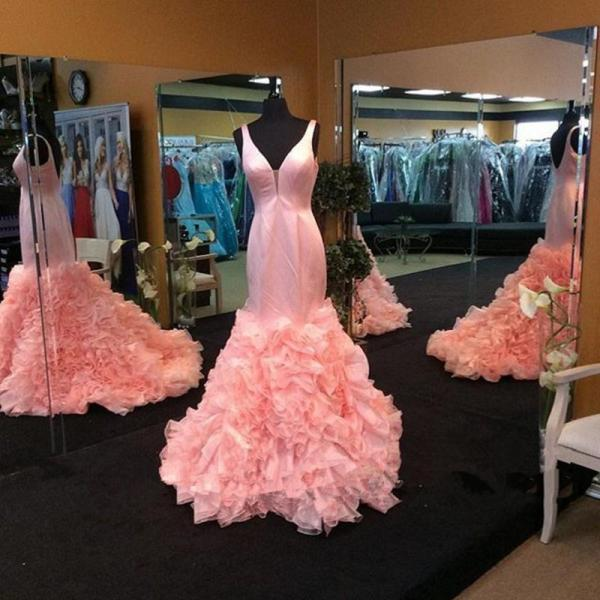 2017 Pink Mermaid Prom Dress Sexy V-neck Sleeveless Long Prom Dress Custom Made Evening/Party Gowns