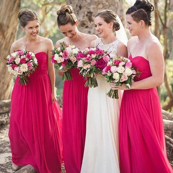 Cheap Briesmaid Dresses,Sweetheart Wedding Guest Dress,A Line Chiffon Maid Of Honor Gowns,Bridesmaid Dresses 2017