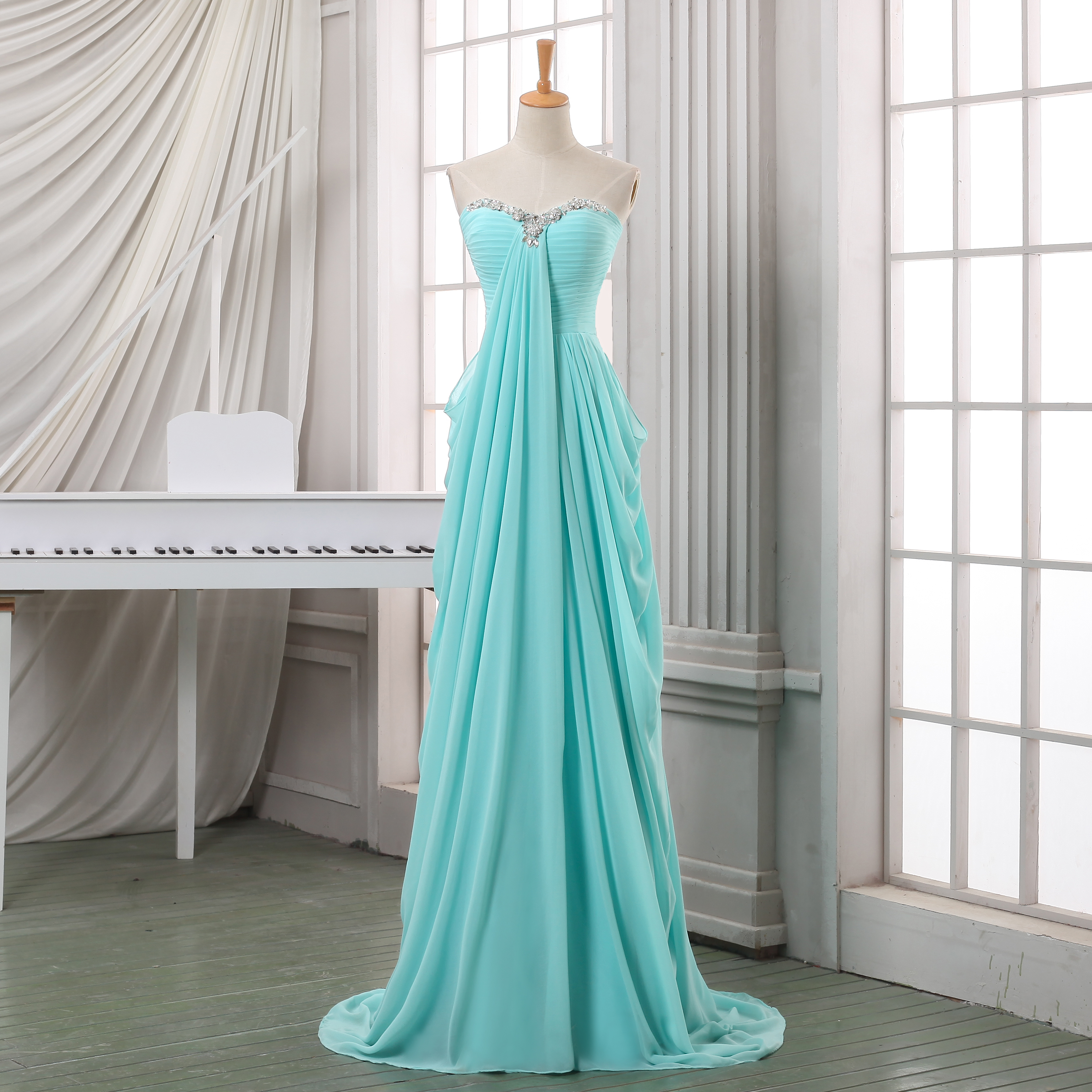 New Sweetheart Prom Dress,Simple Blue Chiffon Baby Blue Prom Gown ...
